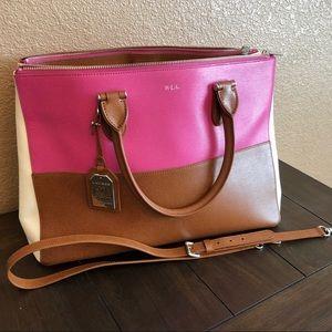 Lauren Ralph Lauren leather color-blocked satchel